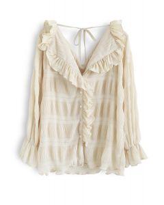 Ruffle Trim Shirred V-Neck Shirt in Cream
