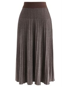 Contrasted Color Reversible Knit Skirt in Brown
