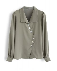 Slant Shell Button Down Shirt in Olive