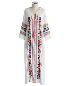 Boho Blossom Maxi Crepe Dress in White