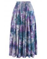 Tie-Dye Pleated Frill Midi Skirt in Purple
