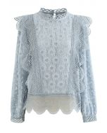 Sunflower Full Lace Long Sleeves Top in Dusty Blue