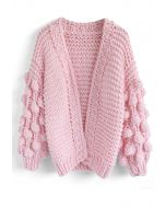 Cuteness on Sleeves Chunky Cardigan in Candy Pink