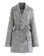 Double-Breasted Belted Tweed Blazer in Grey